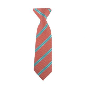 "8"" Salmon, Turquoise Widestripe Clip On Tie"