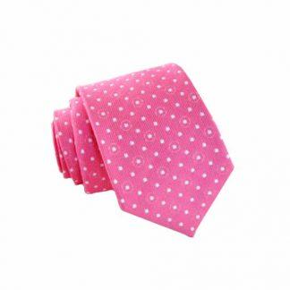 White Dot on Pink Skinny Men's Tie 5610-0