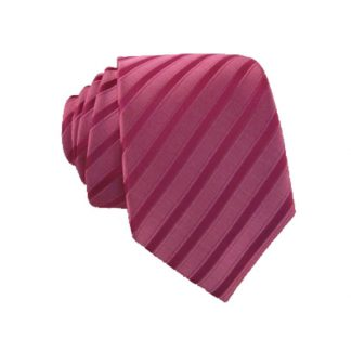 Fuchsia Stripe Tone on Tone Men's Skinny Tie w/ Pocket Square 6143