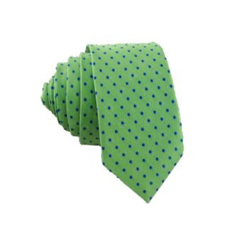 Blue Dot on Green Men's Skinny Tie 7002
