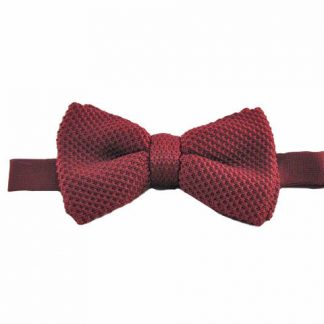 Burgundy Solid Knit Banded Bow Tie 8966-0