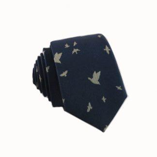 Bird Print Men's Skinny Tie 3495