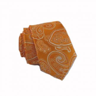 Orange, Tan Paisley Skinny Men's Tie 10665-0
