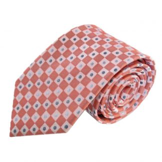 Salmon Squares w/ Silver Dot Men's Tie 9037