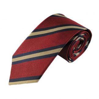 """63"""" XL Burgundy, Navy & Gold Stripe Men's Silk Tie 9542"""