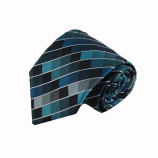 Teal, Blue, Black Criss Cross Men's Tie w/Pocket Square 9959-0