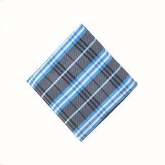 Charcoal & Blue Plaid Pocket Square 11491-0