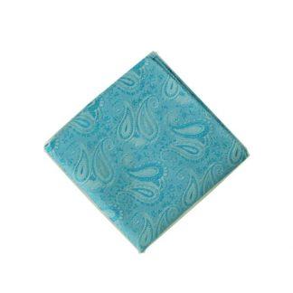 Turquoise Paisley Tone on Tone Pocket Square 11515-0
