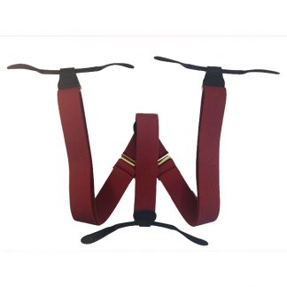 Burgundy Solid Button Suspenders 2052