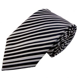 Black, White & Silver Stripe Men's Tie w/ Pocket Square 6560