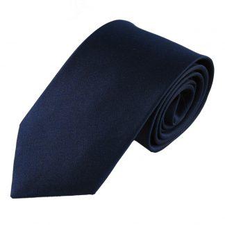 "63"" XL Navy Solid Men's Silk Tie 880"