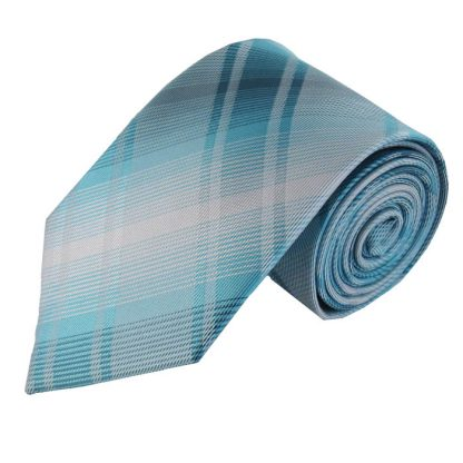 Aqua & White Criss Cross Men's Tie 7518