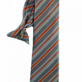 "21"" Clip-On Orange, Taupe Stripe Men's Tie 8579-0"