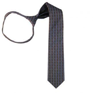 """21"""" Charcoal & Light Blue Criss Cross Zipper Tie 8919"""
