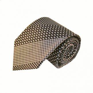 Khaki & Brown Pattern Stripe Men's Tie w/Pocket Square 10195-0