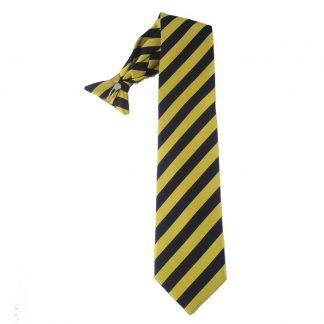 "21"" Gold & Navy Stripe Men's Clip Tie 3806"