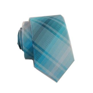 Aqua, Teal Plaid Skinny Men's Tie 4189