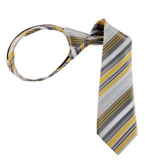 """11"""" Boy's Yellow Gray & White Striped Zipper Tie 4930"""