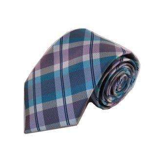 Lavender, Aqua Plaid Men's Tie 8703