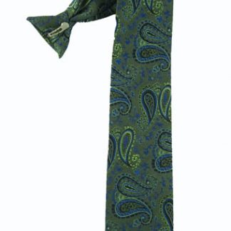 "21"" Clip-On Green, Blue Paisley Men's Tie"