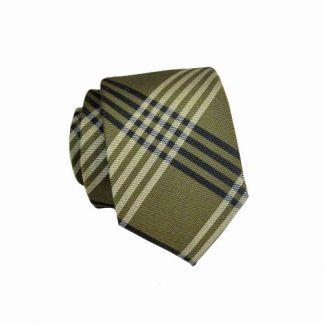 Olive, Green & Navy Criss Cross Skinny Men's Tie w/ Pocket Square 1053