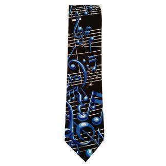 Black & Blue Music Staff Novelty Tie 2284