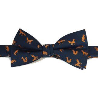 Orange, Navy Fox Print Bow Tie 3017-0