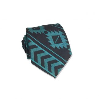 "48"" Boy's Teal, Charcoal Aztec Stripe Tie"
