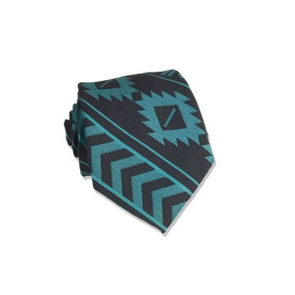 "48"" Boy's Teal, Charcoal Aztec Stripe Tie"