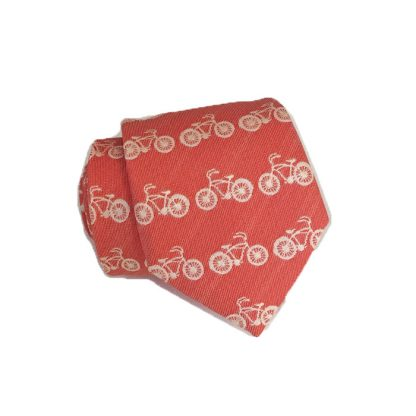 "48"" Boy's Coral, Cream Bicycle Print Tie 3939-0"