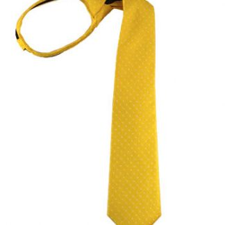 """17"""" Boy's Yellow w/White Dot Zipper Tie"""
