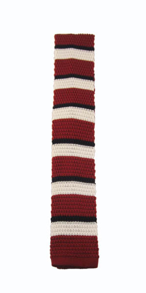 Red, Navy and White Striped Knit Skinny Men's Tie