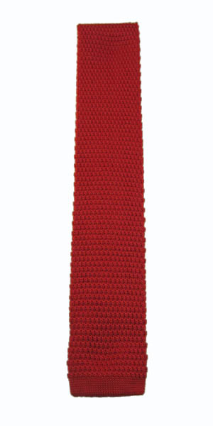 Red Solid Knit Skinny Men's Tie