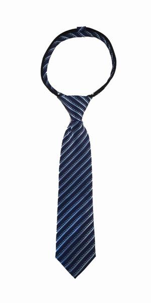 """11"""" Boys Navy, Blue Stripe Zipper Tie"""