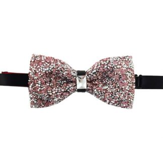 Pink, Silver Glitter Banded Bow Tie