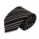 "63"" XL Black Grey & White Stripe Men's Tie 6775"