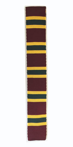 Burgundy, Yellow and Green Striped Knit Skinny Men's Tie