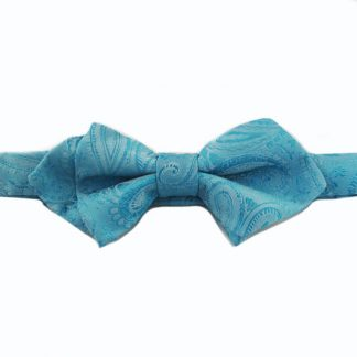 Turquoise Tone on Tone Paisley Pointed Banded Bow Tie