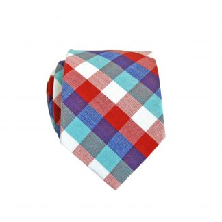 "49"" Boy's Self Tie Red, Blue, Turquoise, White Gingham Pattern 9136-0"