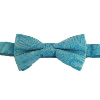 Turquoise Paisley Banded Bow Tie 2993-0