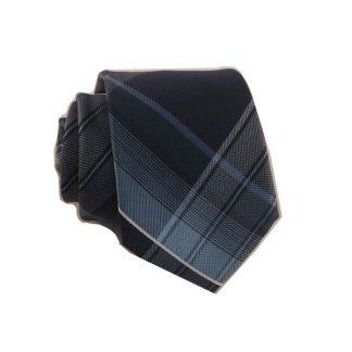Navy, Teal, Light Blue Plaid Skinny Men's Tie w/Pocket Square