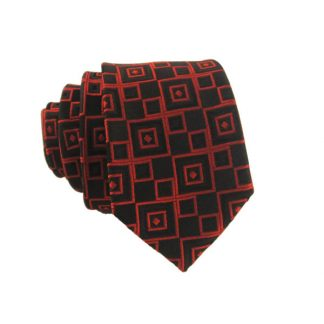 Red and Black Squares Skinny Men's Tie 3646-0