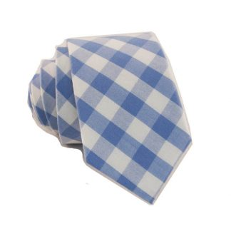 Light Blue and White Gingham Pattern Skinny Men's Tie 4175-0