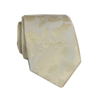 "49"" Boy's Self Tie Cream & Taupe Floral Pattern Tie 5483-0"