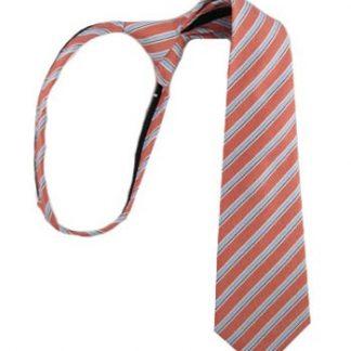 """11"""" Boy's Salmon & Light Blue Zipper Tie 6992"""