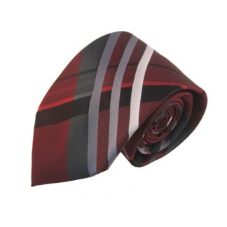 Burgundy & Gray Large Plaid Men's Tie w/ Pocket Square 8172
