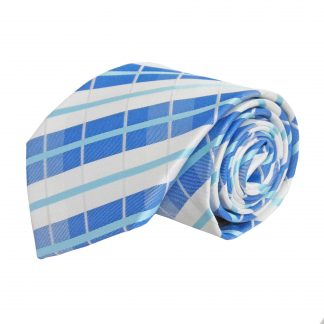 Blue, Aqua, White Plaid Men's Tie 9451-0