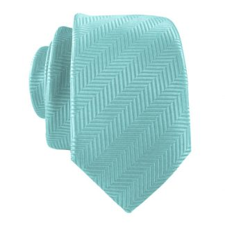 Aqua Line Stripe Men's Skinny Tie w/ Pocket Square 6649