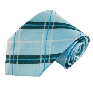 Aqua, White & Dark Green Plaid Men's Tie w/ Pocket Square 8507