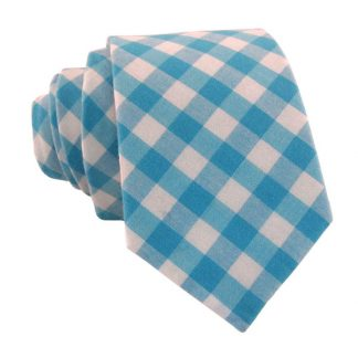 Aqua and White Gingham Skinny Men's Tie 9634